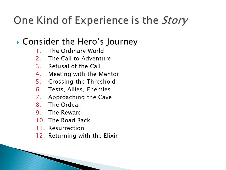  Consider the Hero's Journey 1.The Ordinary World 2.The Call to Adventure 3.Refusal of the Call 4.Meeting with the Mentor 5.Crossing the Threshold 6.Tests, Allies, Enemies 7.Approaching the Cave 8.The Ordeal 9.The Reward 10.The Road Back 11.Resurrection 12.Returning with the Elixir