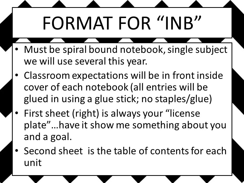 FORMAT FOR INB Must be spiral bound notebook, single subject we will use several this year.