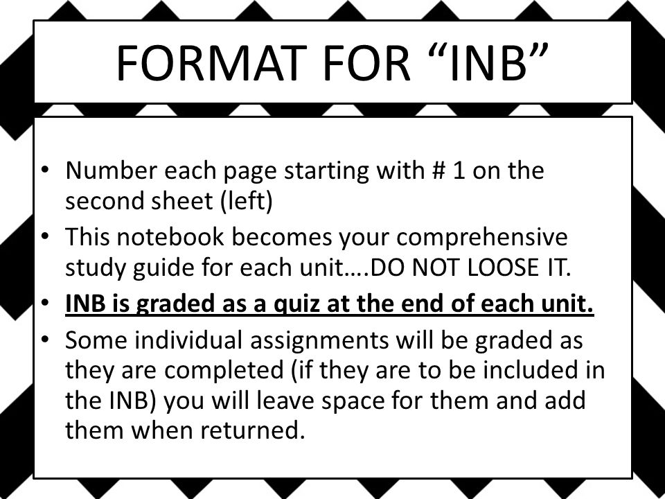 FORMAT FOR INB Number each page starting with # 1 on the second sheet (left) This notebook becomes your comprehensive study guide for each unit….DO NOT LOOSE IT.