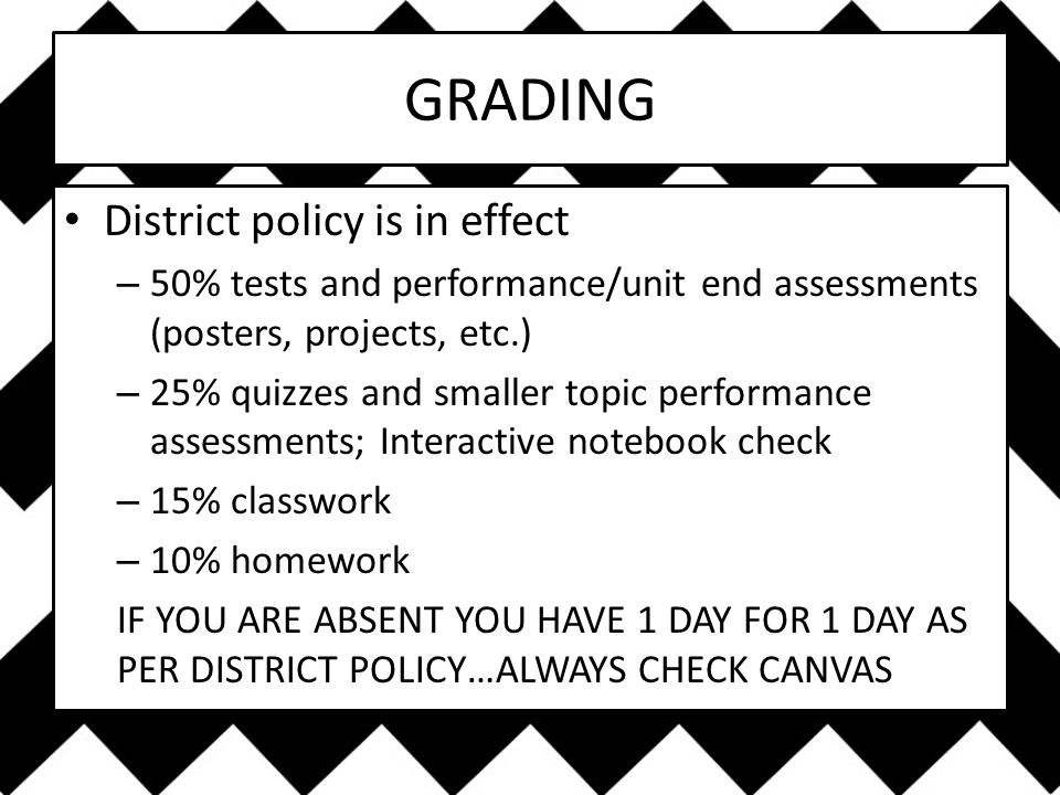 GRADING District policy is in effect – 50% tests and performance/unit end assessments (posters, projects, etc.) – 25% quizzes and smaller topic performance assessments; Interactive notebook check – 15% classwork – 10% homework IF YOU ARE ABSENT YOU HAVE 1 DAY FOR 1 DAY AS PER DISTRICT POLICY…ALWAYS CHECK CANVAS