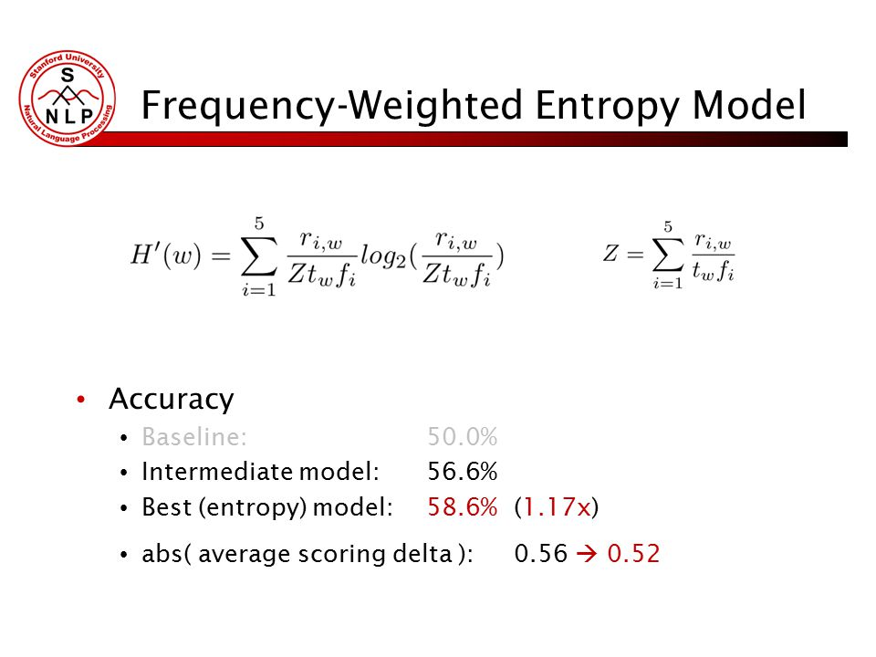 Frequency-Weighted Entropy Model Accuracy Baseline:50.0% Intermediate model:56.6% Best (entropy) model:58.6%(1.17x) abs( average scoring delta ):0.56  0.52