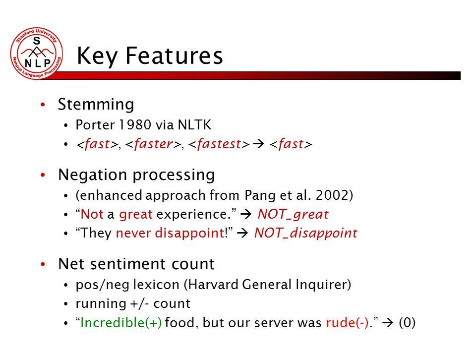 Key Features Stemming Porter 1980 via NLTK,,  Negation processing (enhanced approach from Pang et al.