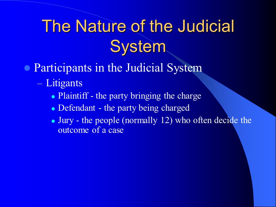 The Nature of the Judicial System Participants in the Judicial System – Litigants Plaintiff - the party bringing the charge Defendant - the party being charged Jury - the people (normally 12) who often decide the outcome of a case