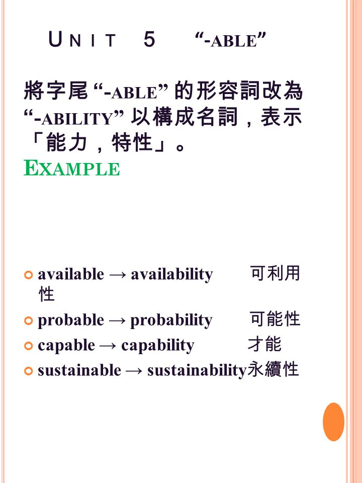 U NIT 5 - ABLE 將字尾 - ABLE 的形容詞改為 - ABILITY 以構成名詞,表示 「能力,特性」。 E XAMPLE available → availability 可利用 性 probable → probability 可能性 capable → capability 才能 sustainable → sustainability 永續性