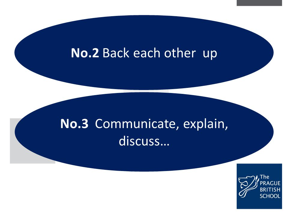 No.2 Back each other up No.3 Communicate, explain, discuss…