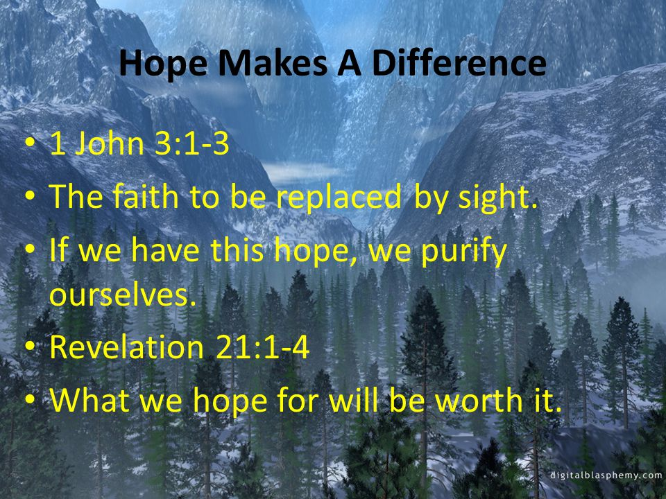 What Does Hope Do For Us.It gives us a purpose. Luke 24:13-35 Their hope was GONE, then realized.