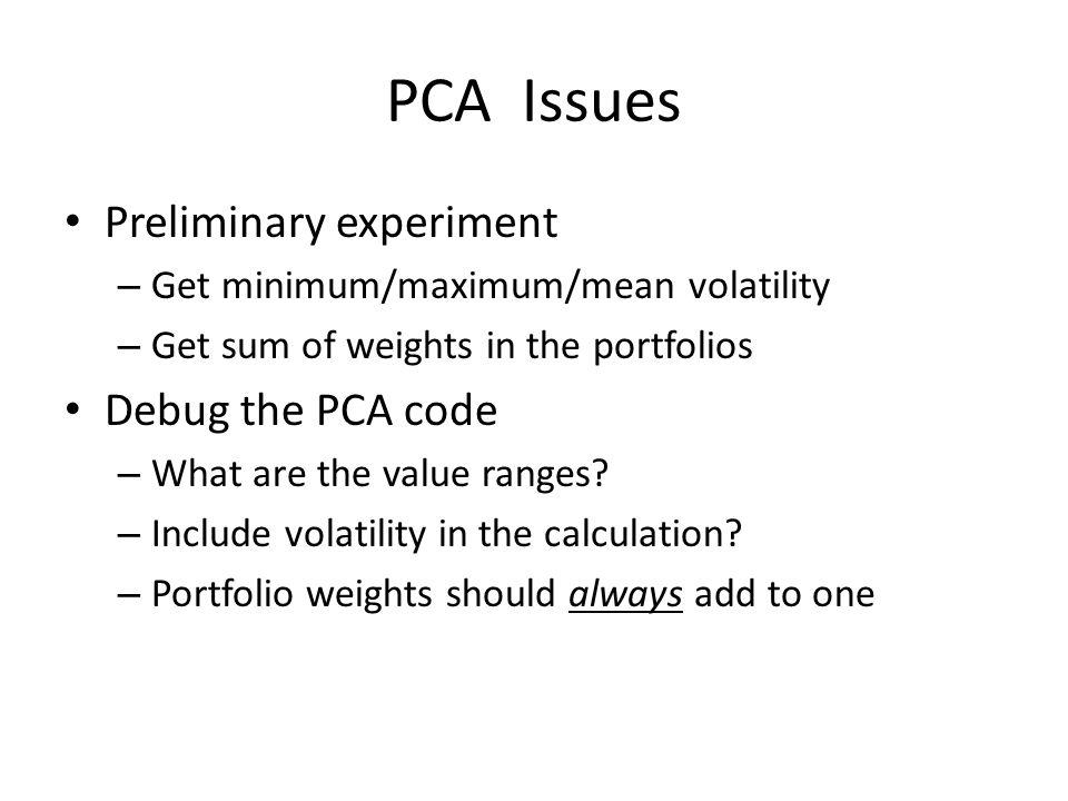 PCA Eigenvector Weight Sums