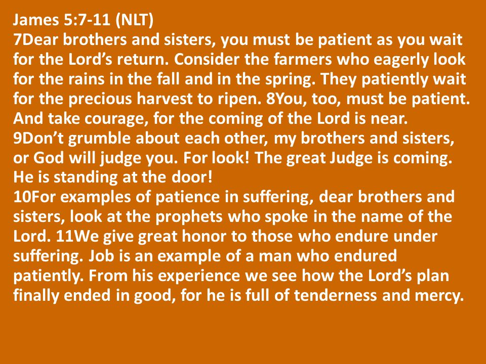 James 5:7-11 (NLT) 7Dear brothers and sisters, you must be patient as you wait for the Lord's return.