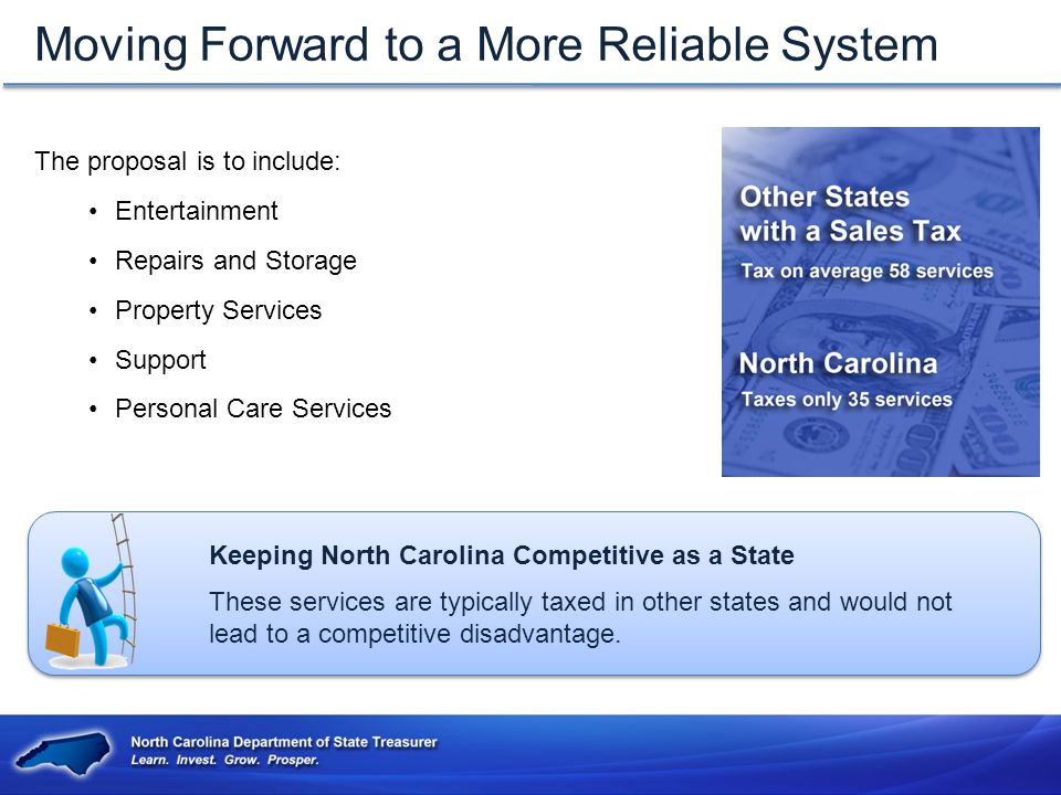 Moving Forward to a More Reliable System The proposal is to include: Entertainment Repairs and Storage Property Services Support Personal Care Services Keeping North Carolina Competitive as a State These services are typically taxed in other states and would not lead to a competitive disadvantage.