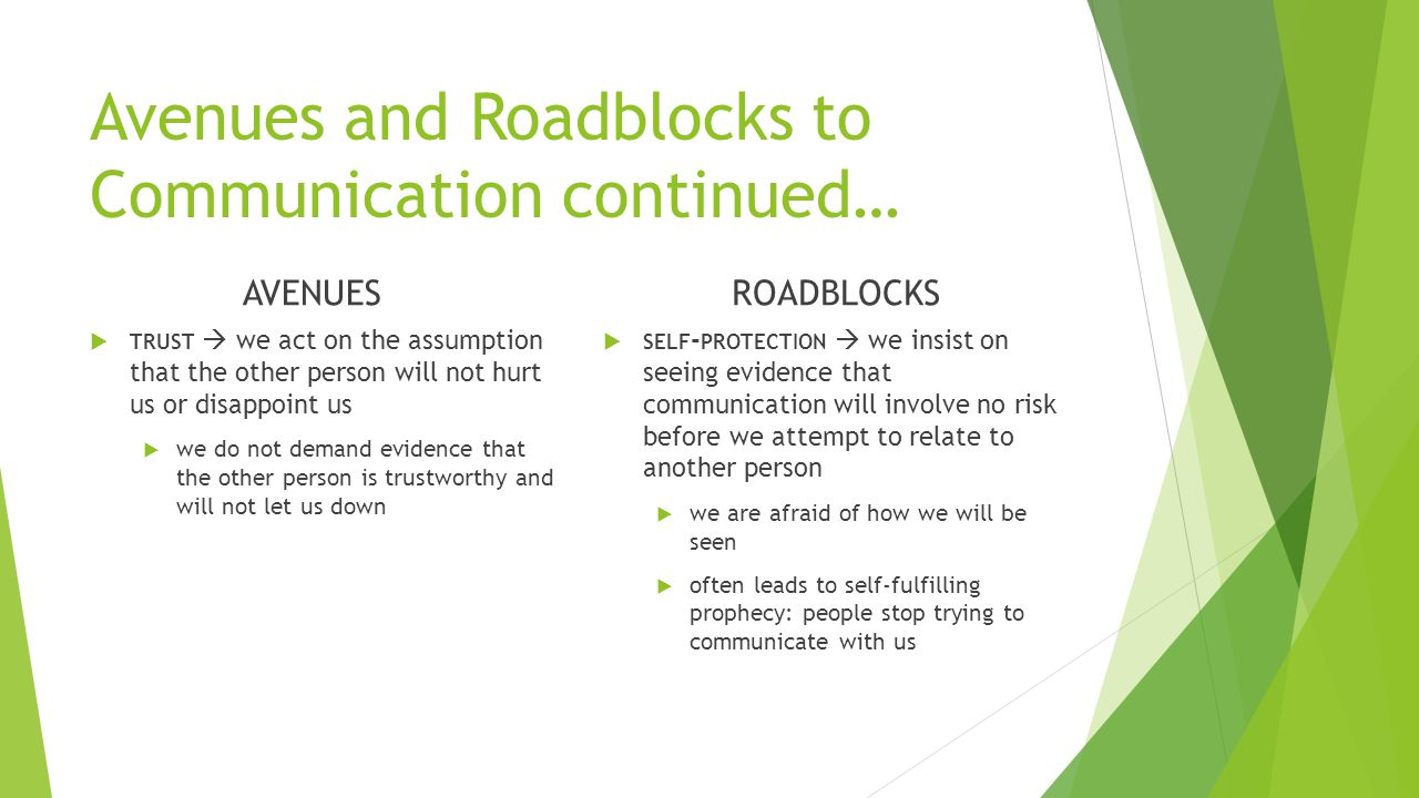 Avenues and Roadblocks to Communication continued… AVENUES  TRUST  we act on the assumption that the other person will not hurt us or disappoint us