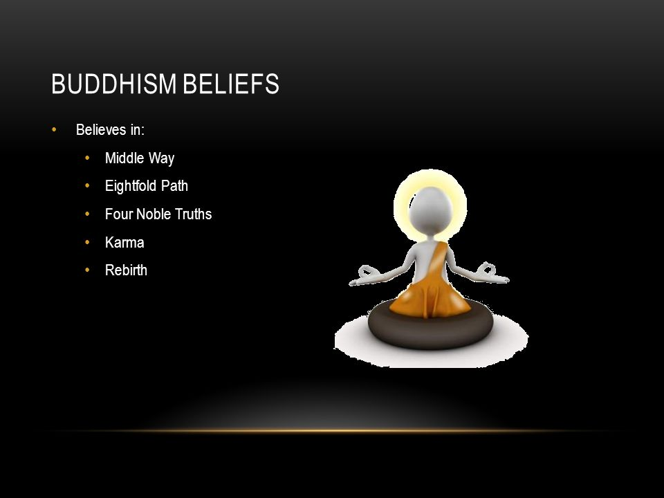 BUDDHISM BELIEFS Believes in: Middle Way Eightfold Path Four Noble Truths Karma Rebirth