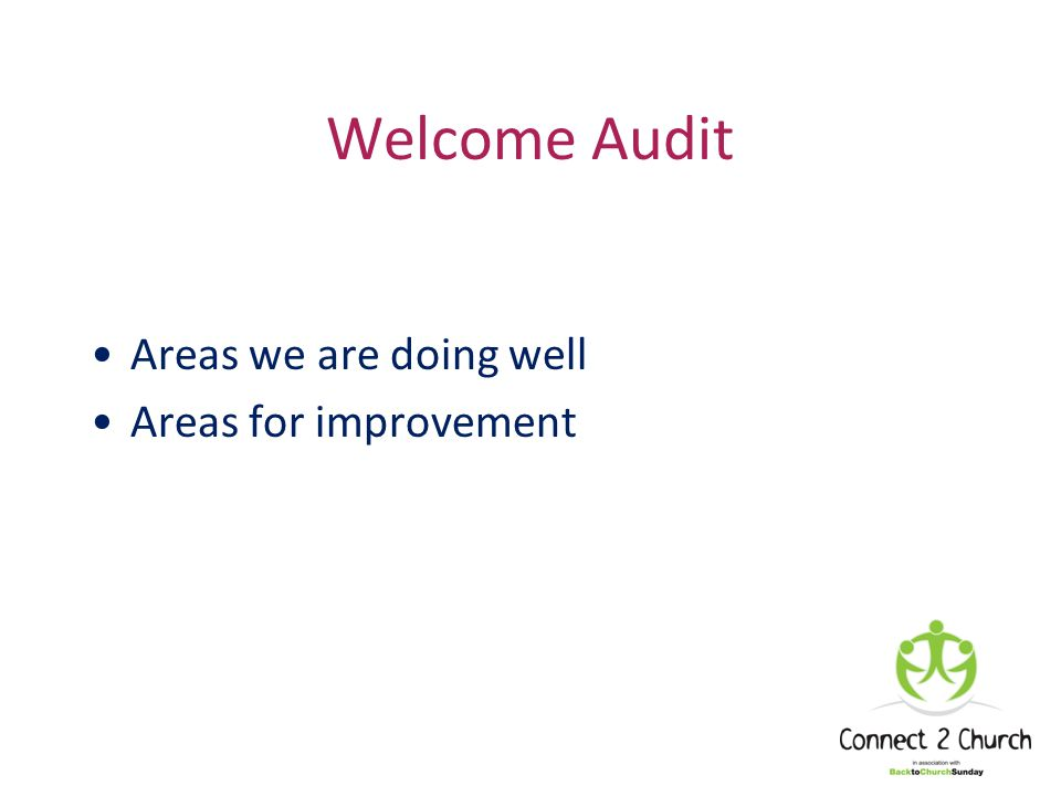 Welcome Audit Areas we are doing well Areas for improvement