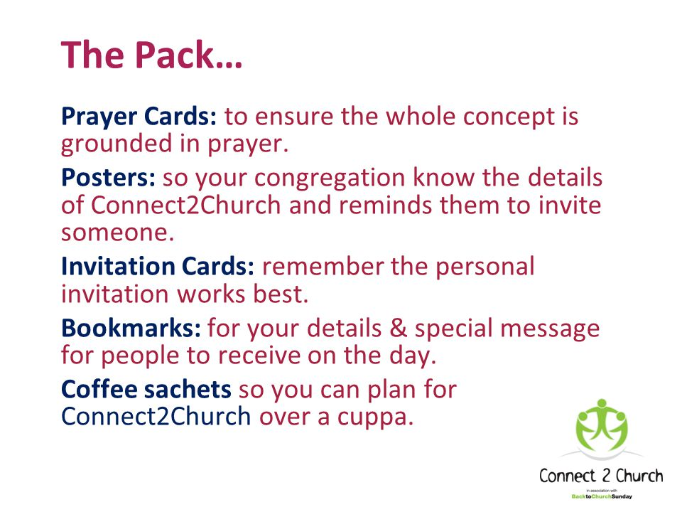 The Pack… Prayer Cards: to ensure the whole concept is grounded in prayer.