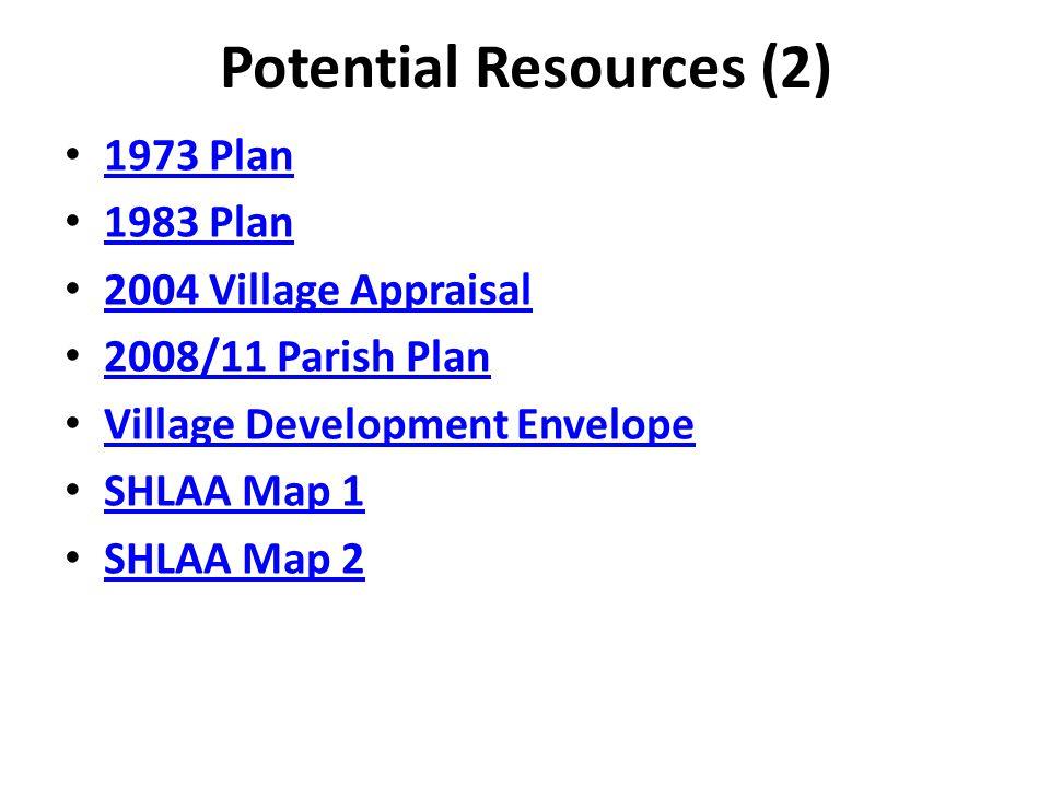 Potential Resources (2) 1973 Plan 1983 Plan 2004 Village Appraisal 2008/11 Parish Plan Village Development Envelope SHLAA Map 1 SHLAA Map 2
