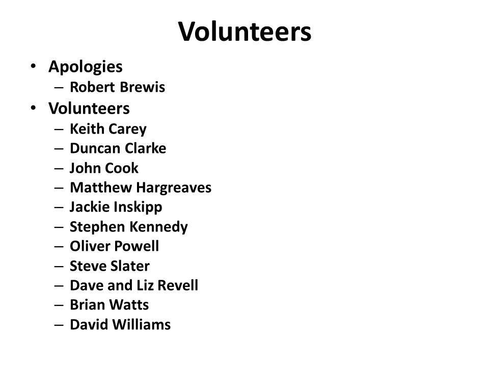 Volunteers Apologies – Robert Brewis Volunteers – Keith Carey – Duncan Clarke – John Cook – Matthew Hargreaves – Jackie Inskipp – Stephen Kennedy – Oliver Powell – Steve Slater – Dave and Liz Revell – Brian Watts – David Williams