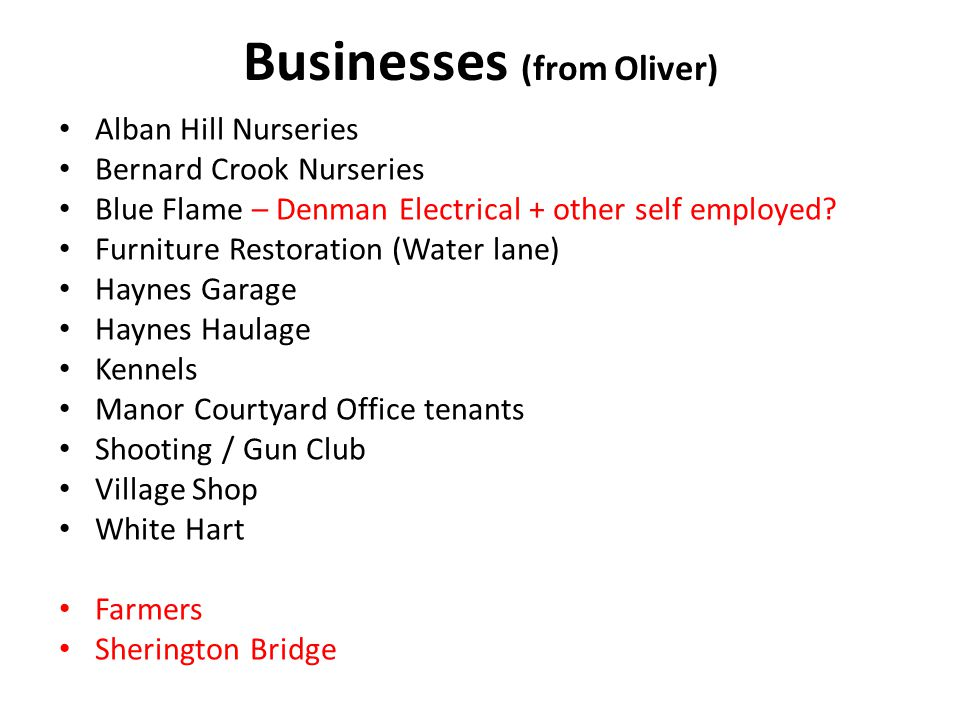 Businesses (from Oliver) Alban Hill Nurseries Bernard Crook Nurseries Blue Flame – Denman Electrical + other self employed.