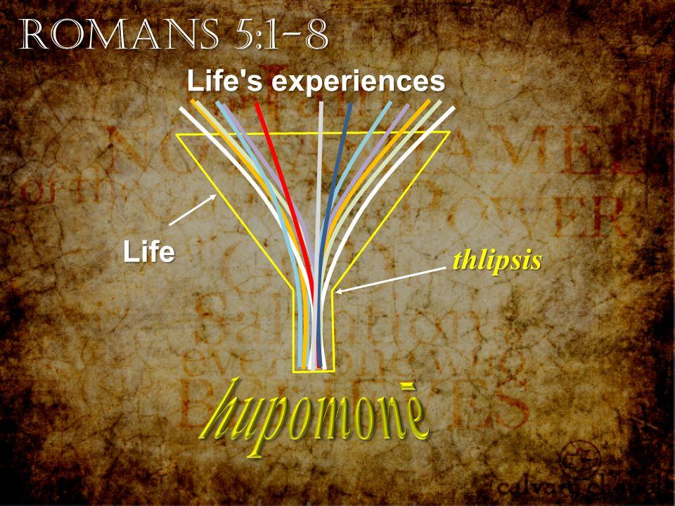 Romans 5:1-8 Life's experiences thlipsis Life