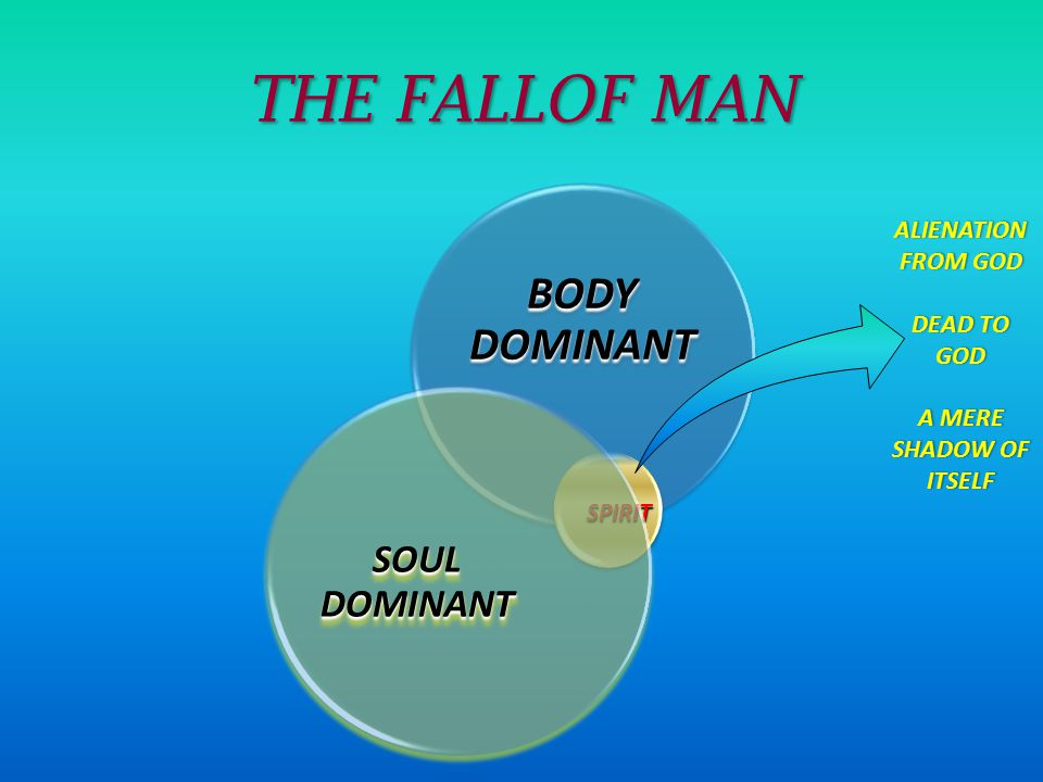 THE FALLOF MAN BODY DOMINANT SPIRIT SOUL DOMINANT ALIENATION FROM GOD DEAD TO GOD A MERE SHADOW OF ITSELF