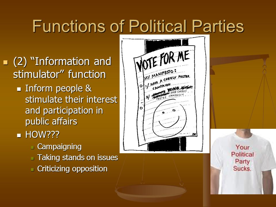 Functions of Political Parties (3) Bonding Agent Function (3) Bonding Agent Function Ensure good performance of its candidates & office holders Ensure good performance of its candidates & office holders Asks the questions of its candidates: High qualifications.