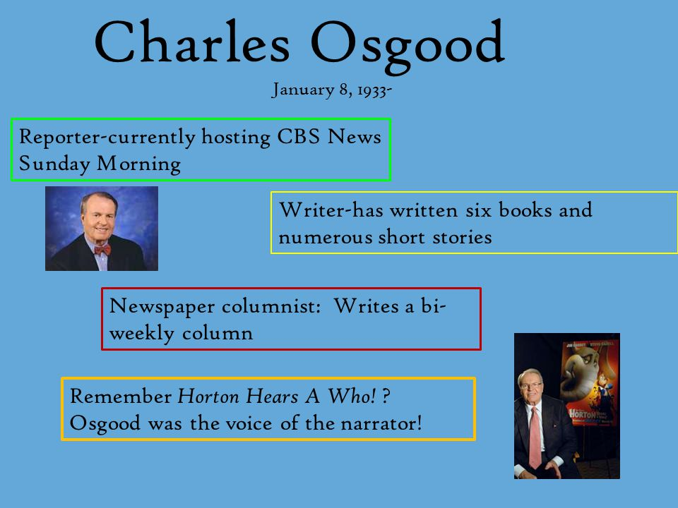 Charles Osgood Reporter-currently hosting CBS News Sunday Morning Writer-has written six books and numerous short stories Newspaper columnist: Writes