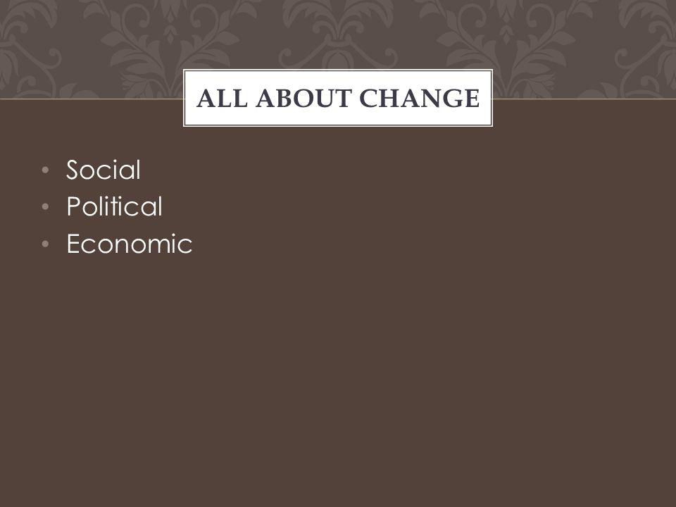 Social Political Economic ALL ABOUT CHANGE