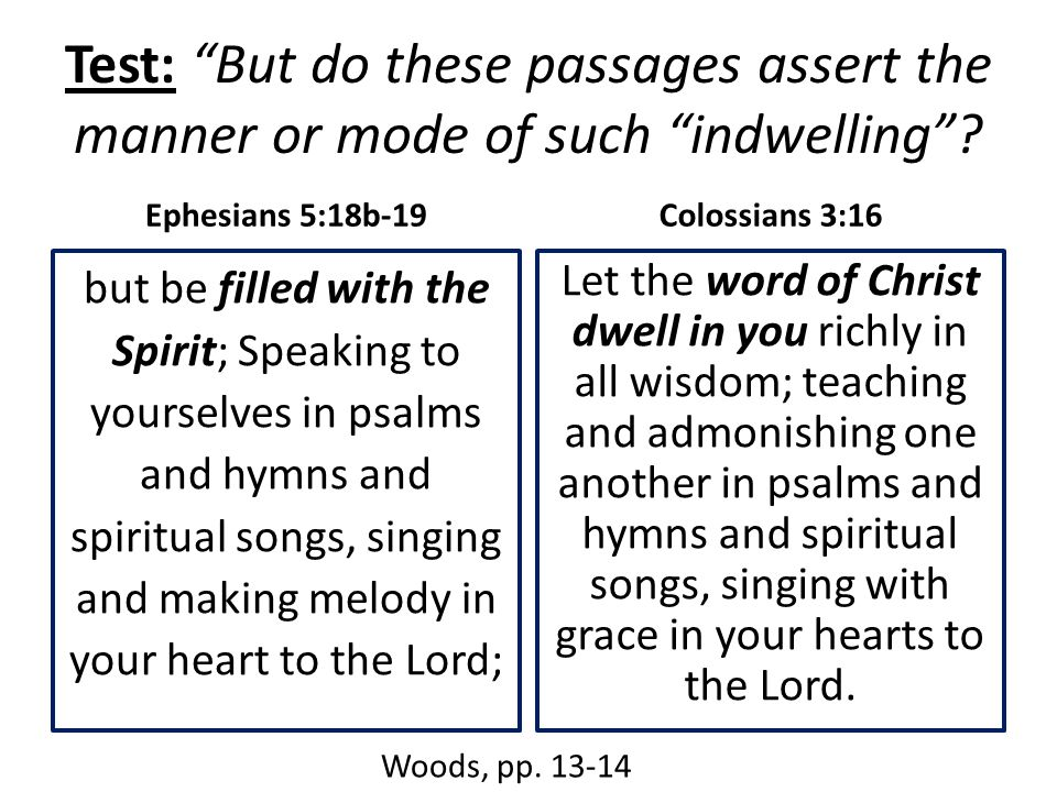 "Test: ""But do these passages assert the manner or mode of such ""indwelling""? Ephesians 5:18b-19 but be filled with the Spirit; Speaking to yourselves"