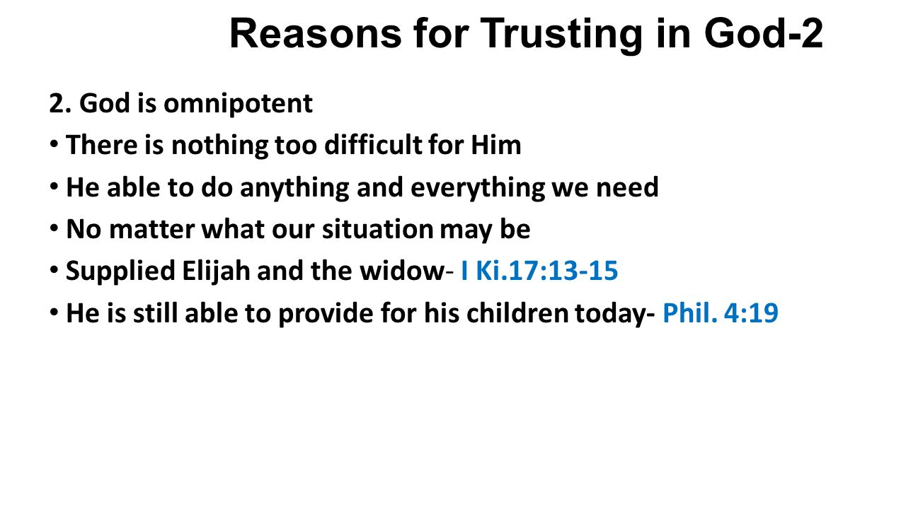 Reasons for Trusting in God-2 2.
