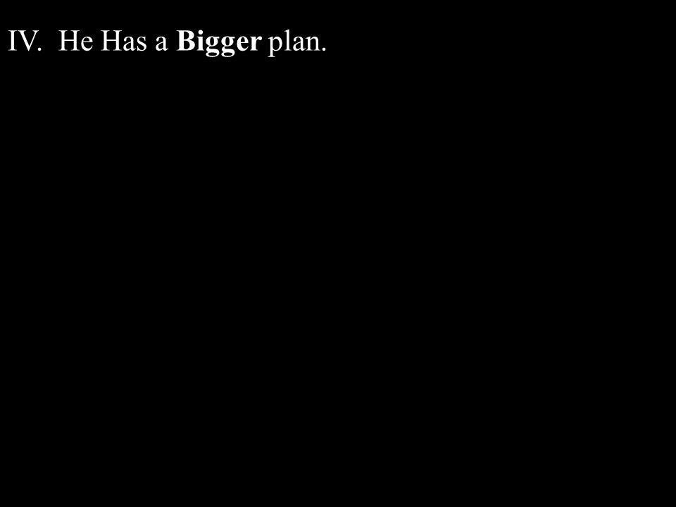 IV. He Has a Bigger plan.