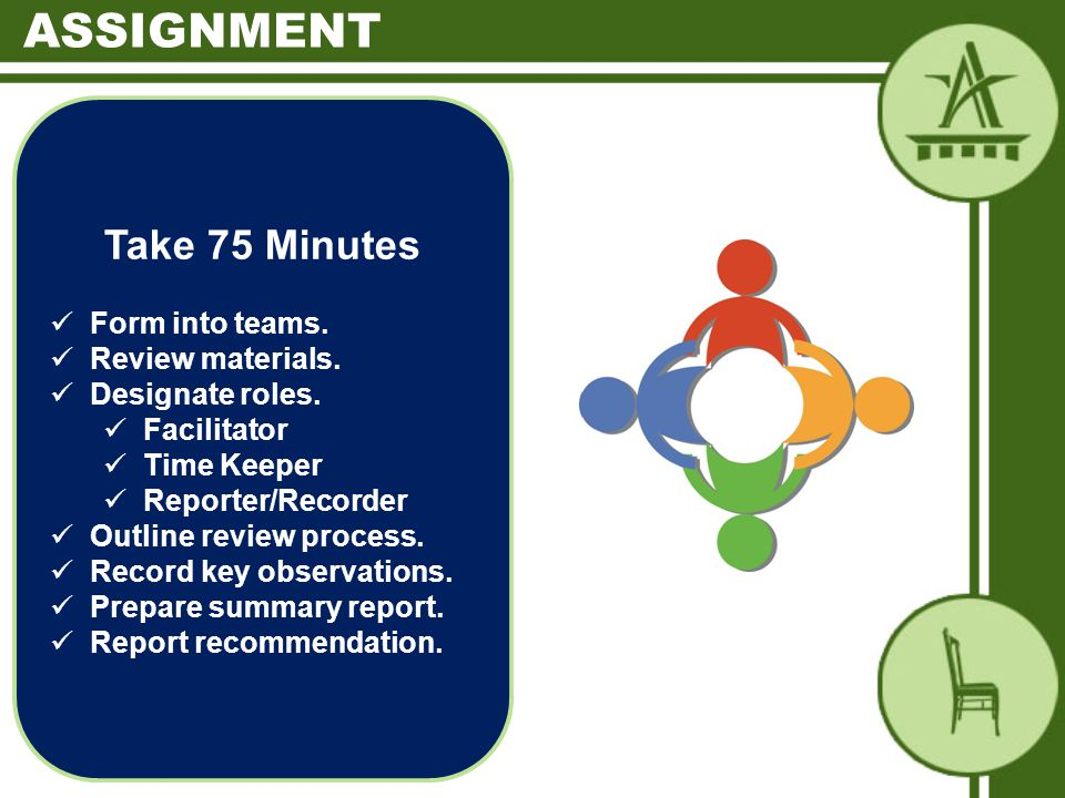 Take 75 Minutes Form into teams. Review materials.