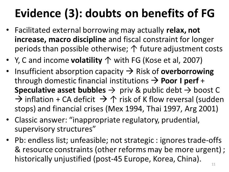 Evidence (3): doubts on benefits of FG Facilitated external borrowing may actually relax, not increase, macro discipline and fiscal constraint for lon