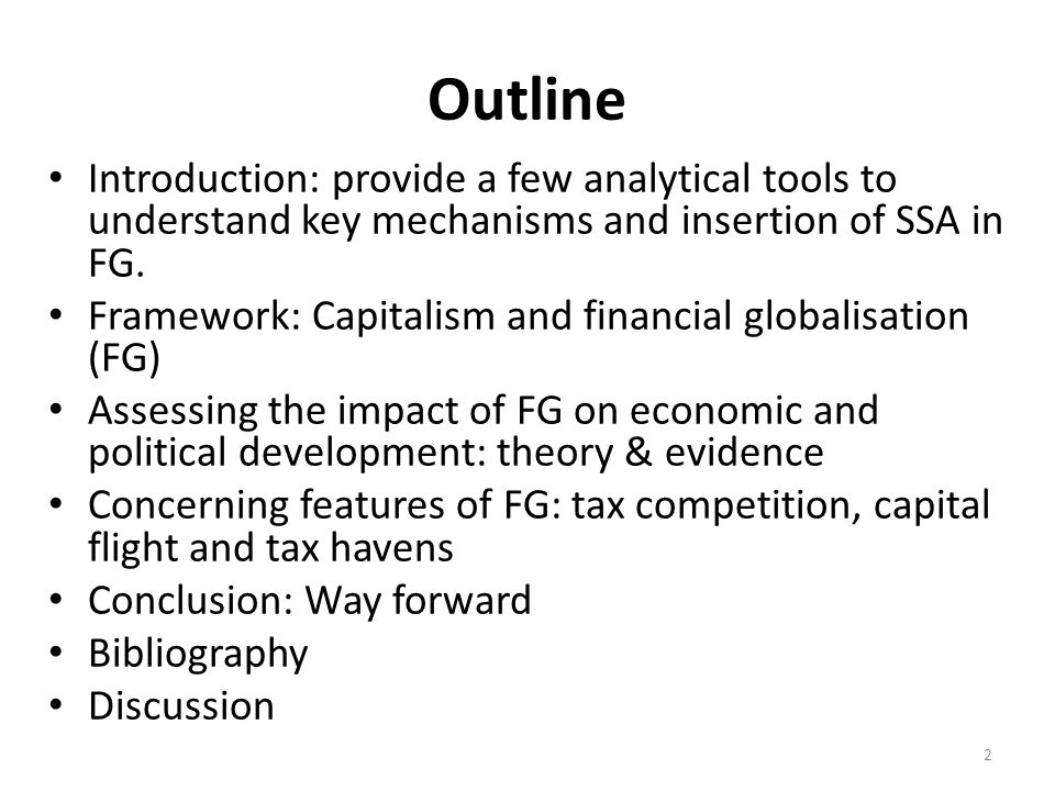 Outline Introduction: provide a few analytical tools to understand key mechanisms and insertion of SSA in FG.