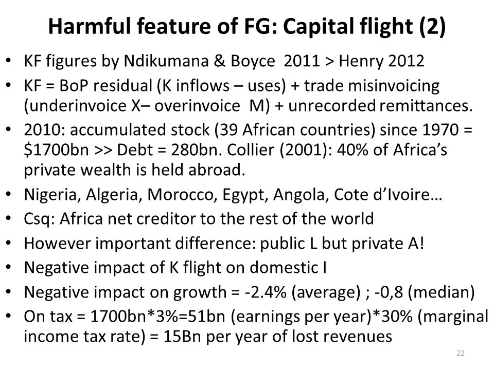 Harmful feature of FG: Capital flight (2) KF figures by Ndikumana & Boyce 2011 > Henry 2012 KF = BoP residual (K inflows – uses) + trade misinvoicing (underinvoice X– overinvoice M) + unrecorded remittances.