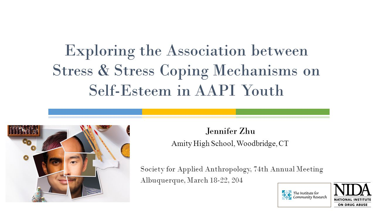 Jennifer Zhu Amity High School, Woodbridge, CT Exploring the Association between Stress & Stress Coping Mechanisms on Self-Esteem in AAPI Youth Society for Applied Anthropology, 74th Annual Meeting Albuquerque, March 18-22, 204