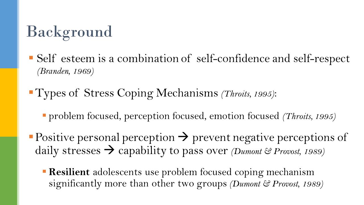  Self esteem is a combination of self-confidence and self-respect (Branden, 1969)  Types of Stress Coping Mechanisms (Throits, 1995) :  problem focused, perception focused, emotion focused (Throits, 1995)  Positive personal perception  prevent negative perceptions of daily stresses  capability to pass over (Dumont & Provost, 1989)  Resilient adolescents use problem focused coping mechanism significantly more than other two groups (Dumont & Provost, 1989) Background