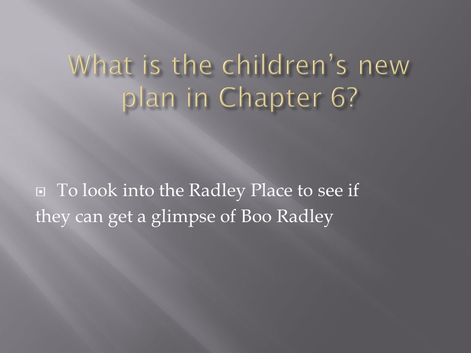  To look into the Radley Place to see if they can get a glimpse of Boo Radley