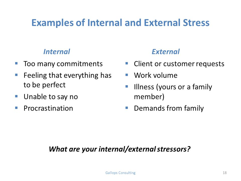 Examples of Internal and External Stress Internal  Too many commitments  Feeling that everything has to be perfect  Unable to say no  Procrastination External  Client or customer requests  Work volume  Illness (yours or a family member)  Demands from family What are your internal/external stressors.