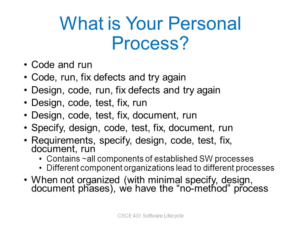 What is Your Personal Process.