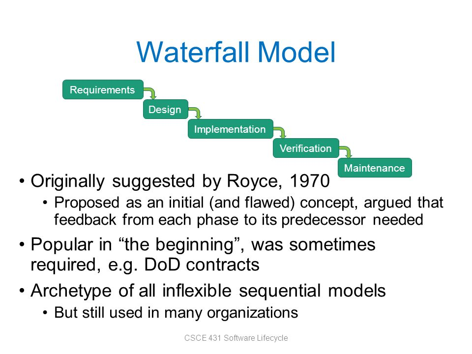 Waterfall Model Originally suggested by Royce, 1970 Proposed as an initial (and flawed) concept, argued that feedback from each phase to its predecessor needed Popular in the beginning , was sometimes required, e.g.