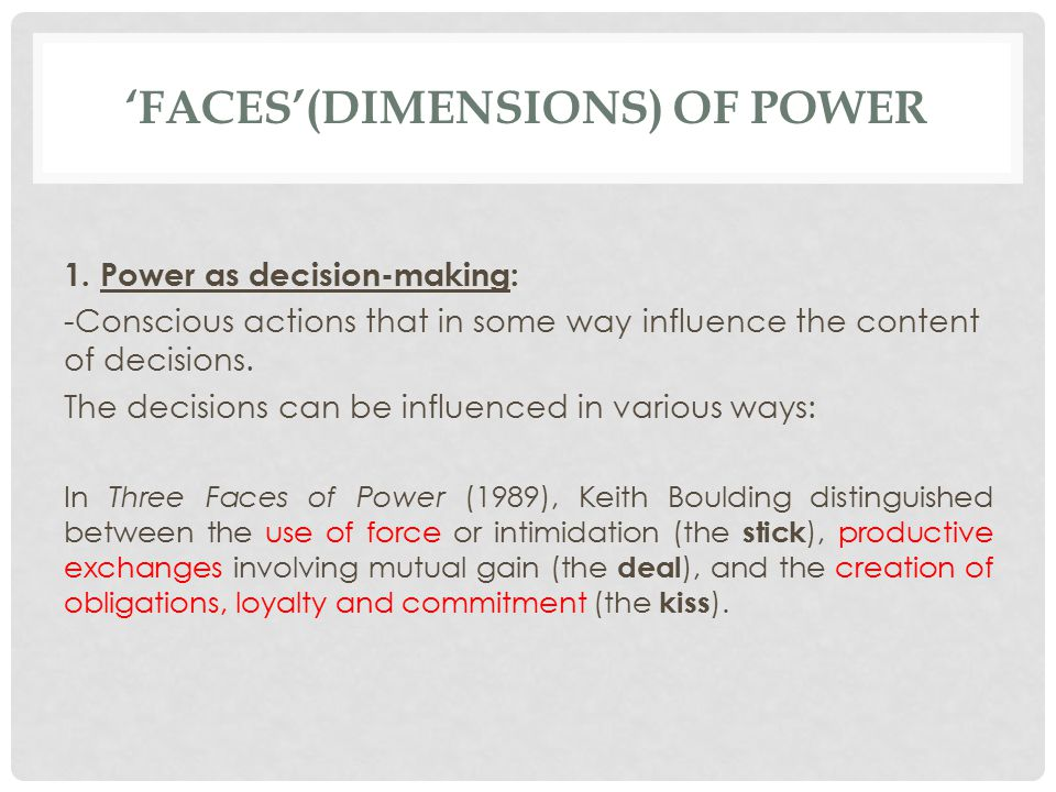 'FACES'(DIMENSIONS) OF POWER 1.