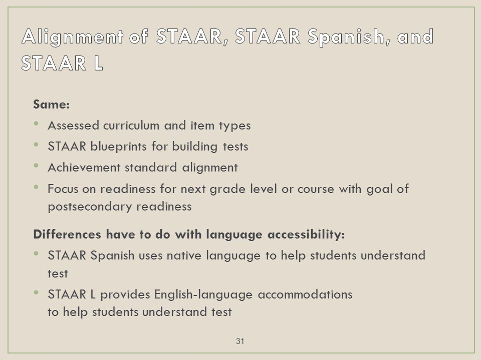 Same: Assessed curriculum and item types STAAR blueprints for building tests Achievement standard alignment Focus on readiness for next grade level or course with goal of postsecondary readiness Differences have to do with language accessibility: STAAR Spanish uses native language to help students understand test STAAR L provides English-language accommodations to help students understand test 31