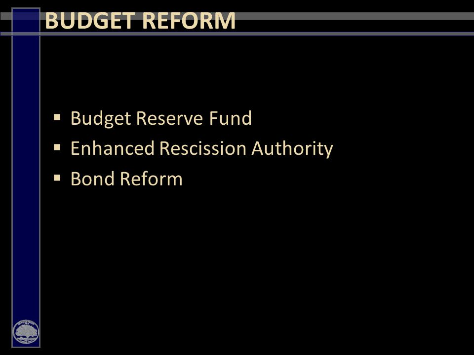 16  Budget Reserve Fund  Enhanced Rescission Authority  Bond Reform BUDGET REFORM