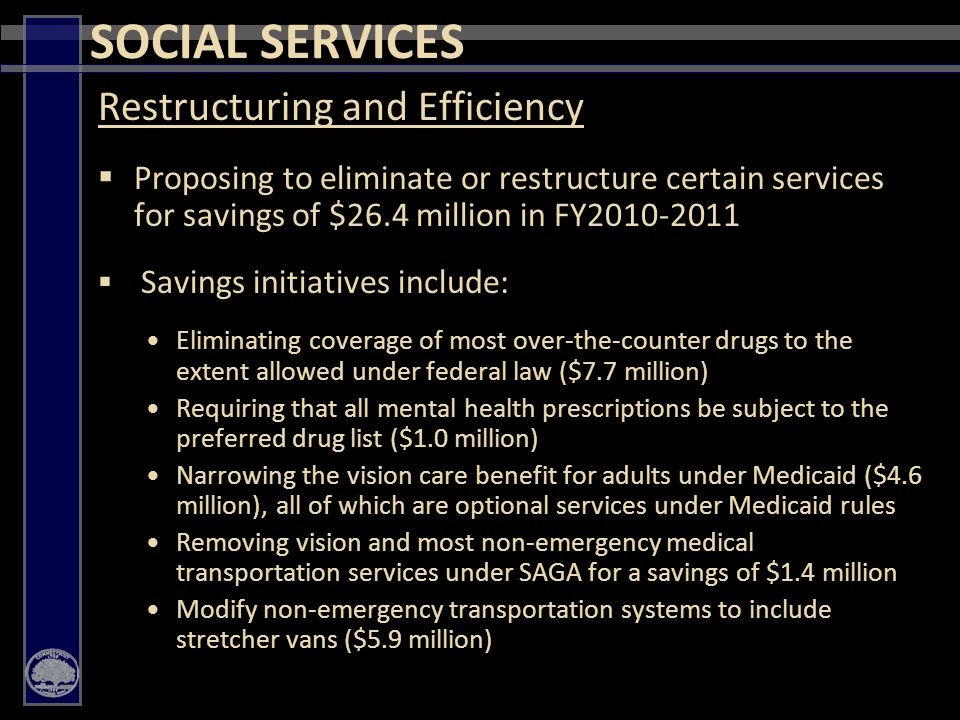 29 Restructuring and Efficiency  Proposing to eliminate or restructure certain services for savings of $26.4 million in FY2010-2011  Savings initiatives include: Eliminating coverage of most over-the-counter drugs to the extent allowed under federal law ($7.7 million) Requiring that all mental health prescriptions be subject to the preferred drug list ($1.0 million) Narrowing the vision care benefit for adults under Medicaid ($4.6 million), all of which are optional services under Medicaid rules Removing vision and most non-emergency medical transportation services under SAGA for a savings of $1.4 million Modify non-emergency transportation systems to include stretcher vans ($5.9 million) SOCIAL SERVICES