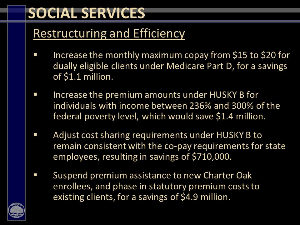 31 Restructuring and Efficiency  Increase the monthly maximum copay from $15 to $20 for dually eligible clients under Medicare Part D, for a savings of $1.1 million.