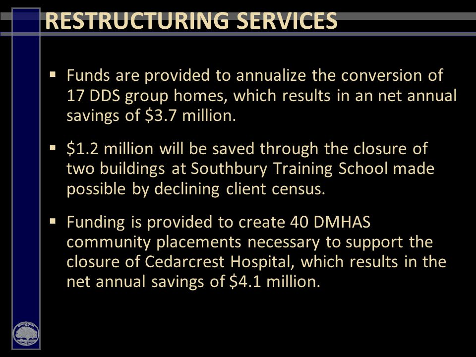 34  Funds are provided to annualize the conversion of 17 DDS group homes, which results in an net annual savings of $3.7 million.