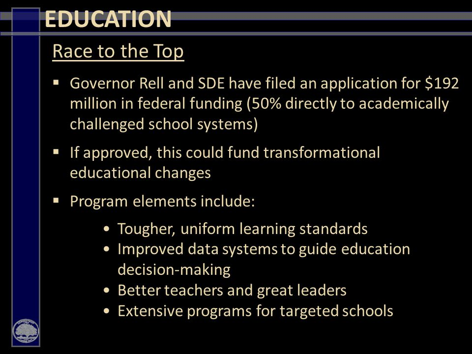 39 EDUCATION Race to the Top  Governor Rell and SDE have filed an application for $192 million in federal funding (50% directly to academically challenged school systems)  If approved, this could fund transformational educational changes  Program elements include: Tougher, uniform learning standards Improved data systems to guide education decision-making Better teachers and great leaders Extensive programs for targeted schools