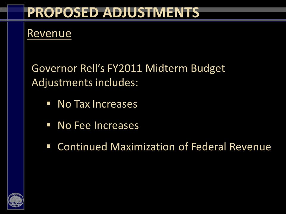 6 Governor Rell's FY2011 Midterm Budget Adjustments includes:  No Tax Increases  No Fee Increases  Continued Maximization of Federal Revenue Revenue PROPOSED ADJUSTMENTS