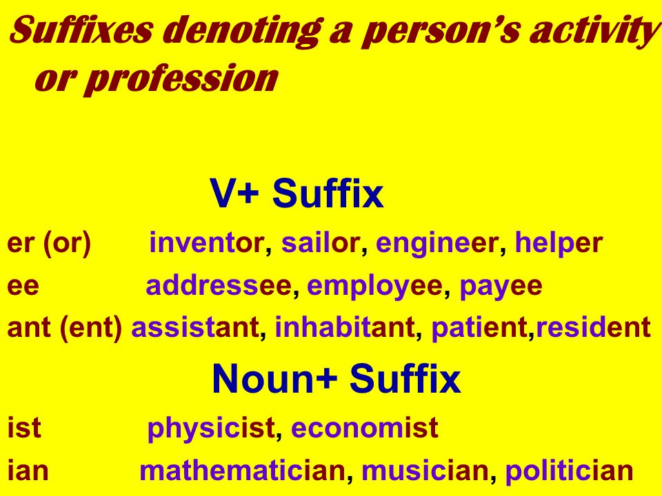 Suffixes denoting a person's activity or profession V+ Suffix er (or) inventor, sailor, engineer, helper ee addressee, employee, payee ant (ent) assistant, inhabitant, patient,resident Noun+ Suffix ist physicist, economist ian mathematician, musician, politician