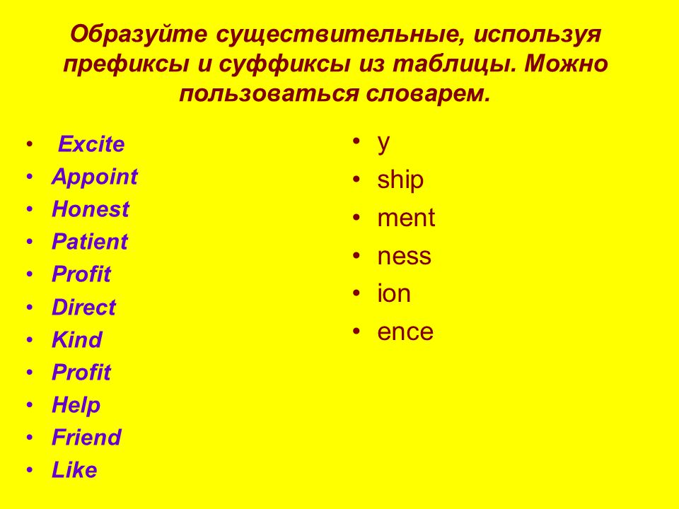 Образуйте существительные, используя префиксы и суффиксы из таблицы.