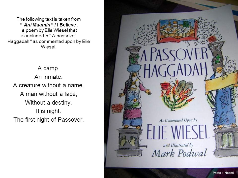 The following text is taken from Ani Maamin / I Believe, a poem by Elie Wiesel that is included in A passover Haggadah as commented upon by Elie Wiesel.
