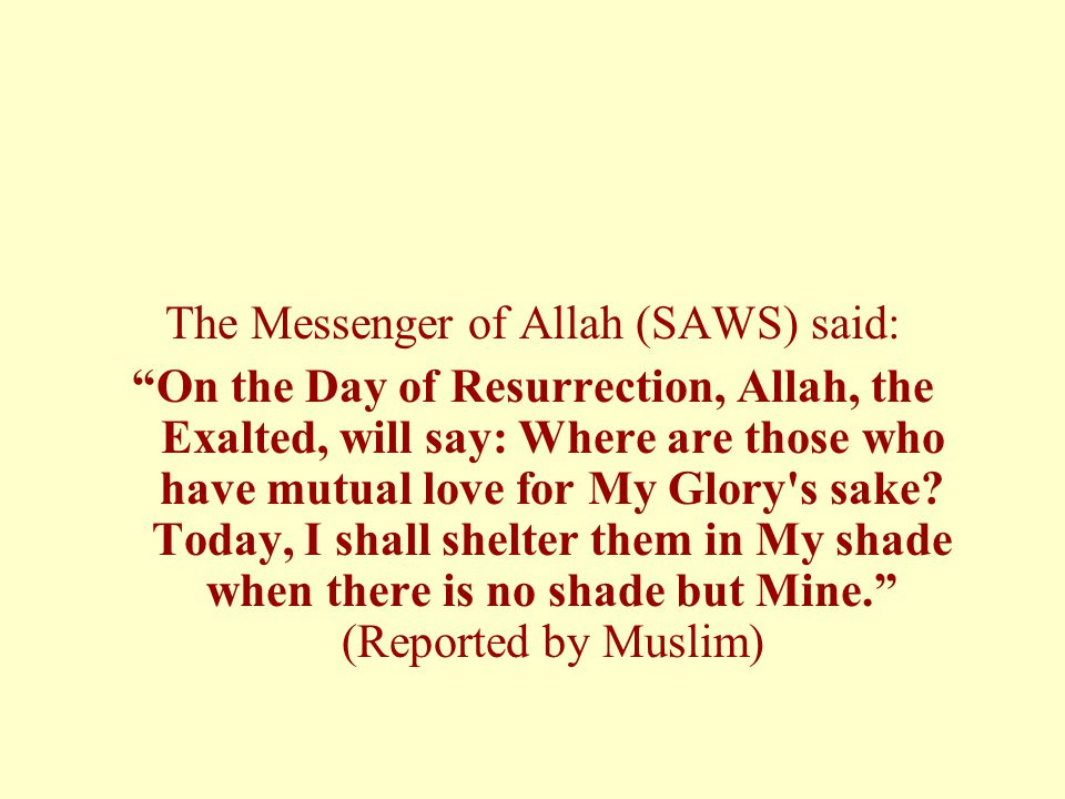 The Messenger of Allah (SAWS) said: On the Day of Resurrection, Allah, the Exalted, will say: Where are those who have mutual love for My Glory s sake.